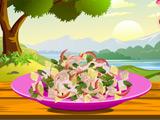 Poached tuna and herb salad
